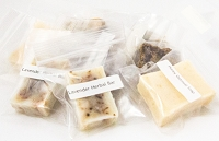 Variety Soap Samples  {Black Soap and Honey  Oatmeal Mix, Lavender Herbal Soap, Black Soap, Honey Oatmeal Soap}